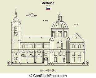 cathédrale, slovenia., repère, ljubljana, icône