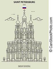cathédrale, smolny, repère, russia., saint, icône, petersburg