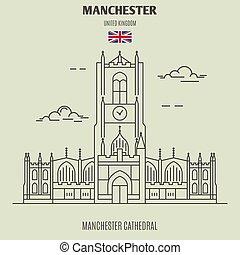 cathédrale, uk., repère, manchester, manchester, icône
