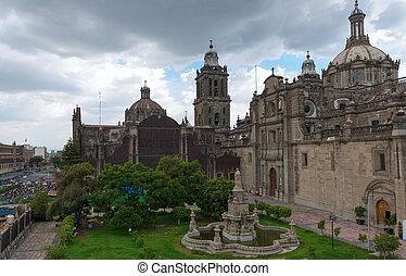 cathédrale, ville, métropolitain, mexique