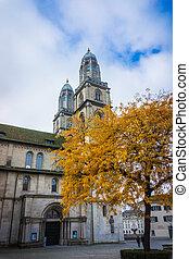 cathédrale, zurich., moyen-âge, tours, grossmunster