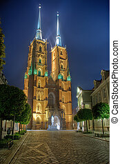 Cathedra at night in Wroclaw, Poland