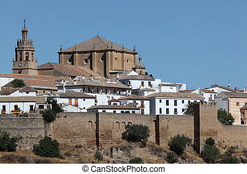 Cathedral and City Wall in Ronda, Andalusia Spain