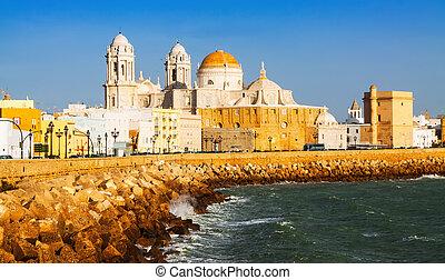 Cathedral and  ocean coast. Cadiz