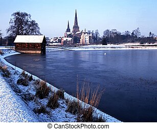 Cathedral and pool, Lichfield, UK. - Cathedral Church of the...