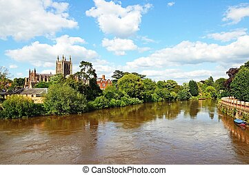 View of the Cathedral and the River Wye, Hereford, Herefordshire, England, UK, Western Europe.