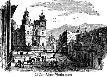 Cathedral at Guanajuato vintage engraving. Old engraved...