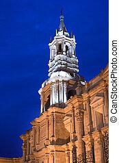 Cathedral at main square, Plaza de Armas, Arequipa, Peru, South America