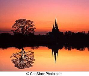 Cathedral at sunset, Lichfield, UK.