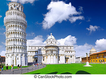 Cathedral, Baptistery and Tower of Pisa. - Famous Piazza Dei...