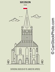 Cathedral Basilica of St James the Apostle in Szczecin, Poland. Landmark icon in linear style