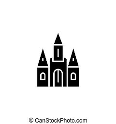 Cathedral black icon concept. Cathedral flat  vector symbol, sign, illustration.