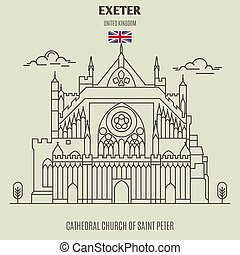 Cathedral Church of Saint Peter at Exeter, UK. Landmark icon