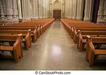 inside public free access cathedral of vitoria city spain