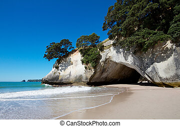 Cathedral Cove marine reserve on the Coromandel Peninsula in...