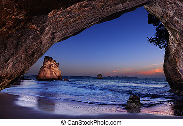 Cathedral Cove, New Zealand - Cathedral Cove at sunrise,...