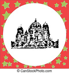 Cathedral in Berlin or Berliner Dom in Germany black 8-bit...