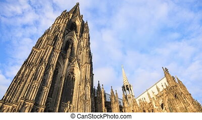 Cathedral in Cologne with clouds and sky, Germany, timelapse...