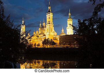 Cathedral   in evening. Zaragoza