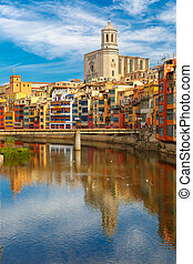 Cathedral in Girona, Catalonia, Spain - Saint Mary Cathedral...