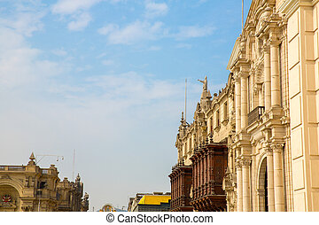 Cathedral in Lima, Peru. Old church in South America,built...