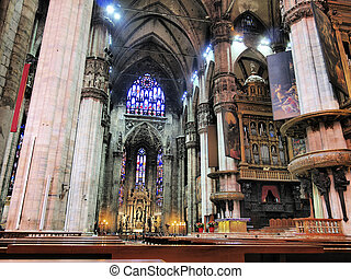 Cathedral in Milan - interior, Lombardy, Italy - Photo was...