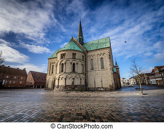 Cathedral in old medieval city Ribe, Denmark