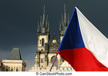 cathedral in Prague with flag