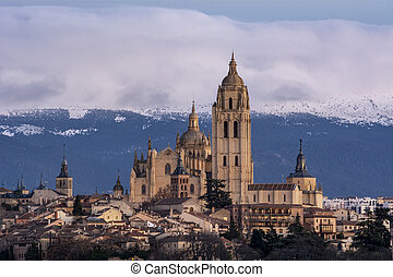 Cathedral in Segovia, detailed close up with tele photo lens, Spain