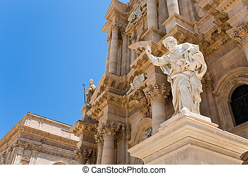 Cathedral in Syracuse, Sicily - Apostle statue in Cathedral...
