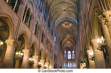 "Cathedral. - Interior of ""Notre Dame de Paris"" cathedral in ..."