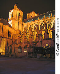 Cathedral lighted by night, Bourges, France