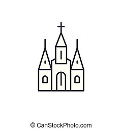 Cathedral linear icon concept. Cathedral line vector sign, symbol, illustration.