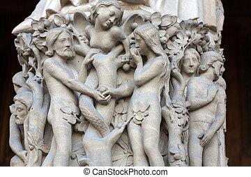 cathedral., mokkel, parijs, notre