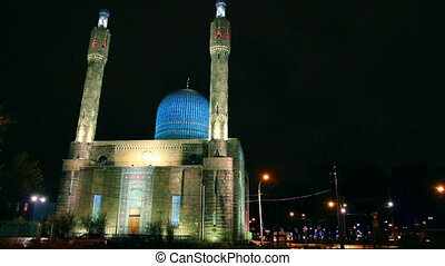 Cathedral Mosque in St. Petersburg at night