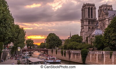 Cathedral Notre Dame de Paris day to night timelapse after...