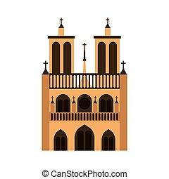 cathedral notre dame icon vector illustration design