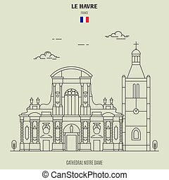 Cathedral Notre Dame of Le Havre, France. Landmark icon in linear style