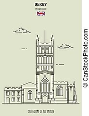 Cathedral of All Saints in Derby, UK. Landmark icon
