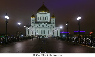 Cathedral of Christ the night in Moscow