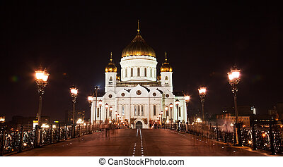 Cathedral of Christ the Savior at night, Moscow, Russia