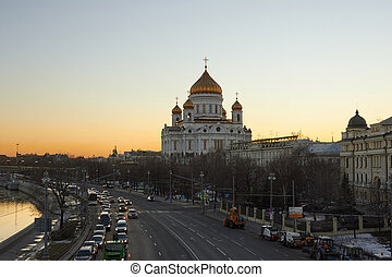 Cathedral of Christ the Saviour at dusk, Moscow