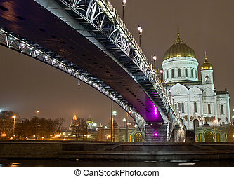 Cathedral of Christ the Saviour in Moscow night view with bridge
