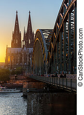Cathedral of cologne at sunset
