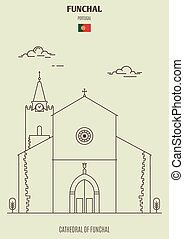 Cathedral of Funchal, Portugal. Landmark icon in linear style