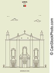 Cathedral of Leiria, Portugal. Landmark icon in linear style