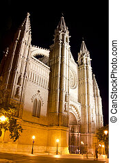 Cathedral of Majorca in Palma de Mallorca night - Cathedral...