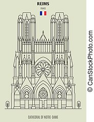 Cathedral of Notre-Dame of Reims, France. Landmark icon in linear style