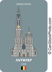 Cathedral of Our Lady in Antwerp, Belgium. Architectural ...