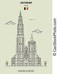 Cathedral of Our Lady in Antwerp, Belgium. Landmark icon in ...